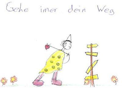 Postkartenbotschaft von Kind in Therapie gemalt